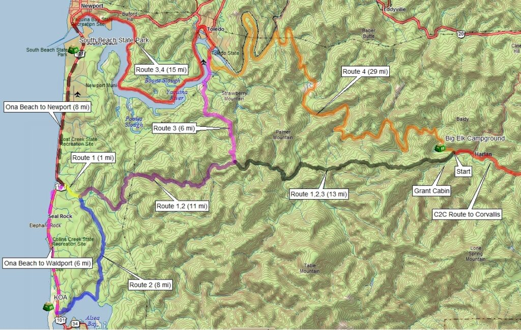 Corvallis to the Sea Bicycle Route Map